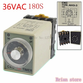 180 S AH3-3 Power on Delay Timer tiempo relé 36VAC carcasa de plástico 8 Pin
