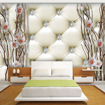 Costumbre mural wallpaper 3d en relieve de diamante plum ramas pared pintura arte paquete suave sala de estar tv telón de fondo de papel decoración para el hogar