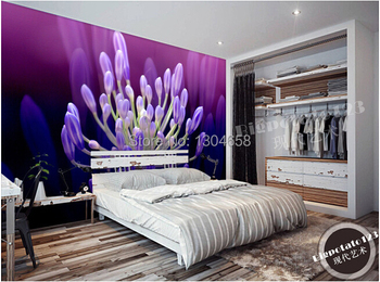 Custom 3D large murals, beautiful purple flowers flower core wallpaper, living room TV setting wall contact paper
