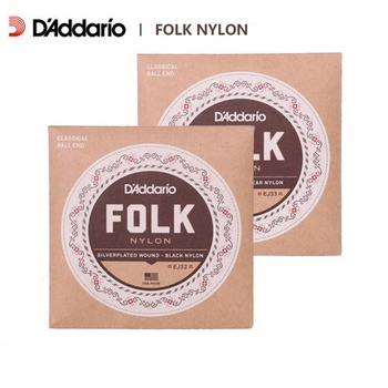 D'Addario EJ32/EJ33 Folk Guitarra Cuerdas de Nylon, Ball End, Nylon Triples