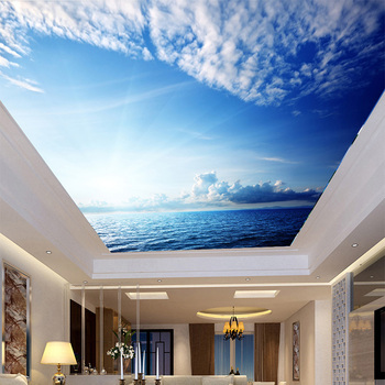 Moderno simple cielo azul y nubes blancas mar paisaje de la naturaleza de techo mural wallpaper salón restaurante home decor 3d fresco