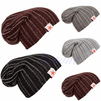 Reversible de invierno Hombres Mujeres Knit Beanie Slouch Skull Chunky Baggy Sombrero Unisex